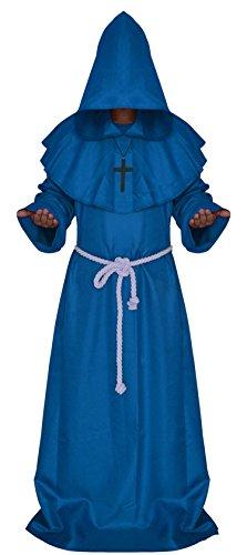 Druid Cloak Costume (Halloween comic party Cosplay monk hooded robe cloak medieval Renaissance monk men's clothing)