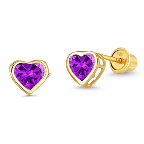 14k Yellow Gold Purple Feb Heart Bezel Cubic Zirconia Children Screwback Baby Girls Stud Earrings ()