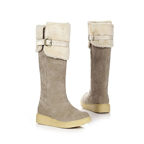 Fashion Heel Womens Faux Suede Winter Warm Long Snow Shoes Platform Above the Knee Boots Beige B2SKp5