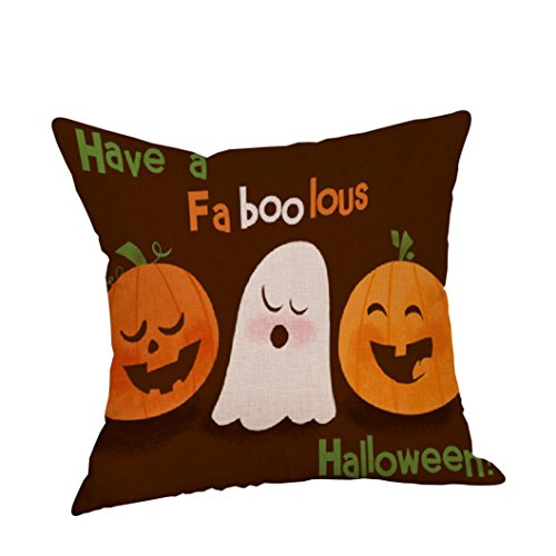 VESNIBA 2017 Happy Halloween Pillow Cases Linen Sofa Letter Cushion Cover Home Decor (Happy Halloween 2017 Disney)