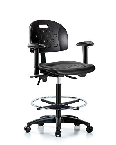 LabTech Seating LT42780 Handle High Bench Chair, Polyurethane, Nylon Base - Arms, Chrome Foot Ring, Casters Base Foot Ring Casters