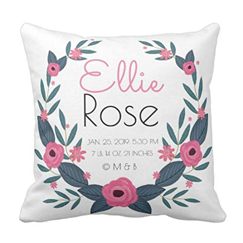 - Floral Keepsake Personalized Baby Girl Wreath Birth Record Nursery Decorative Pillow Case Home Decor Square 18 x 18 Inch/45cm x 45cm