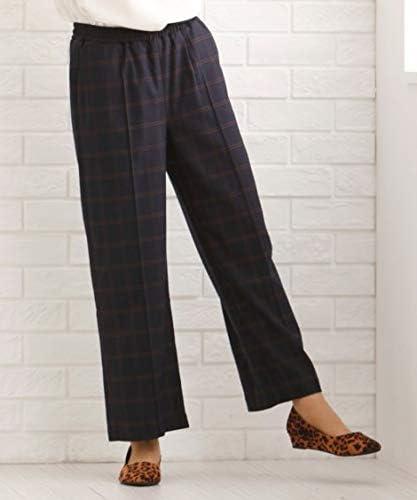 [nissen(ニッセン)] フロントピンタックチェック柄セミワイド パンツ 大きいサイズ レディース