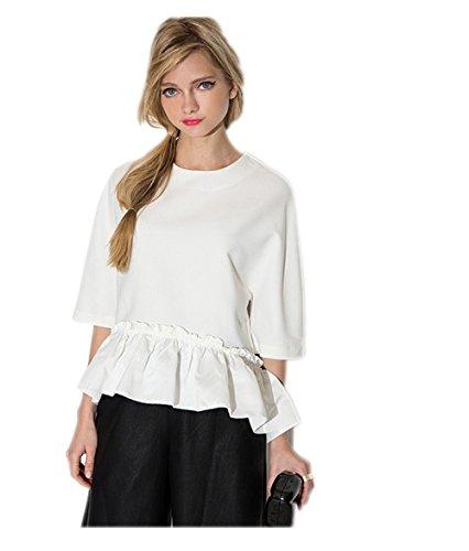 HDY Women Elegant Ruffle Tee Shirt Asymmetric Top Summer Draped Ladies Blouse (Womens Beaded Ruffle Shirt)