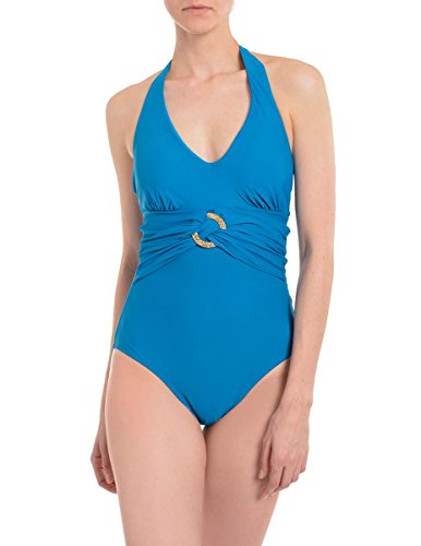 Spanx 2370 Halter One Piece Swimsuit Size 12 in Blue