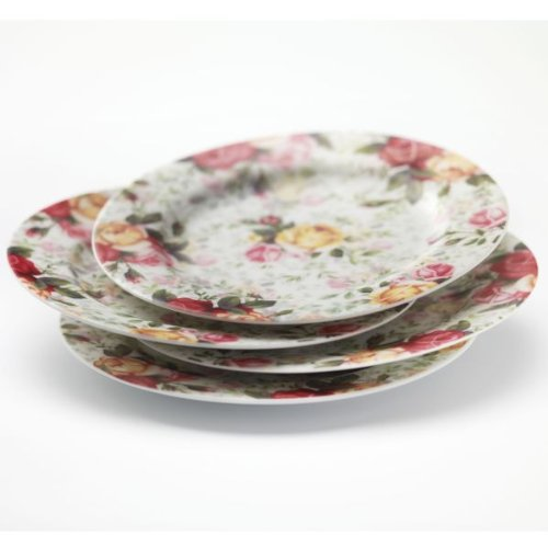 Country Rose Chintz S/4 Dessert Plates
