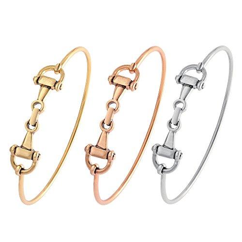SENFAI Horse Snaffle Bit Hook Clasp Charm Bracelet Bangle Jewelry (Antique Gold + Antique Rose Gold + Antique Silver, -
