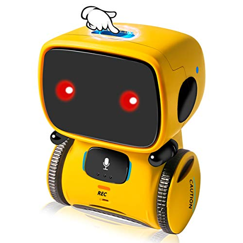 DAPRIL Robot Toys, Educational Stem Toys Robotics for Kids, Intelligent Partner and Teacher, with Voice Controlled and Touch Sensor, Singing, Dancing, Repeating, Gift for Kids Age 3+ (Yellow)