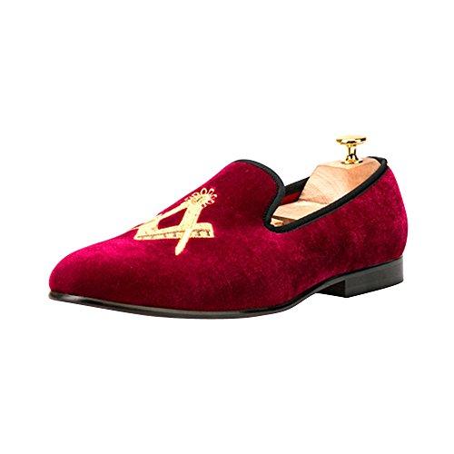 OCHENTA Boda de la Manera Mocasines Zapatos de Fiesta de Terciopelo de los Hombres - Pisos Hombres Vino Rojo Asiático 47/ EU 44: Amazon.es: Zapatos y ...