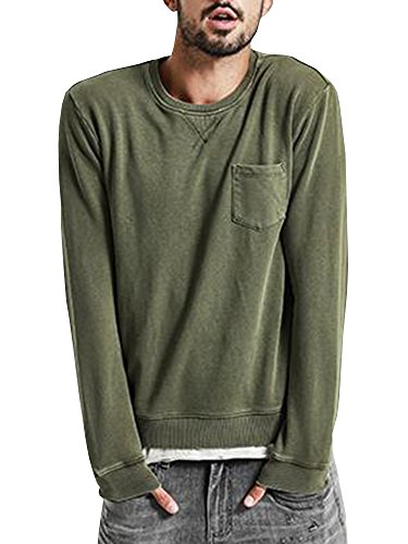 Runcati Mens Vintage Long Sleeve T Shirt Curved Hem Hipster Crewneck Distressed Jersey Athletic Tee Top Army Green