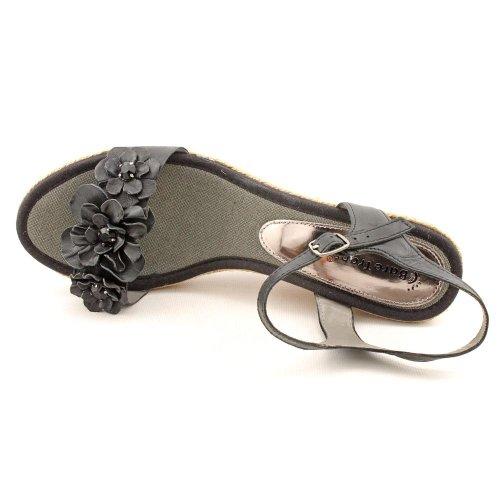 Sandalias De Cuña De Cuero Con Punta Abierta En Color Negro Para Mujer Baretraps Tease 8