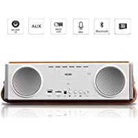 Wooden Bluetooth Speaker Wireless Stereo Speaker With Wood Housing Enhanced Bass, 10W Loud Volume and Built-in Microphone , Aux/Micro CD Card Slot Compatible with Smartphones, Tablets and MP3 Devices