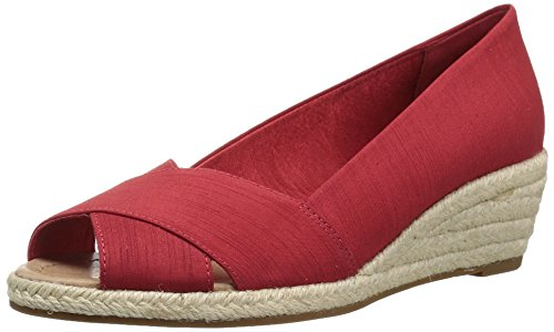 (206 Collective Women's Braylon Open-Toe Espadrille Wedge-Low Sandal, red Silk, 10 B US)