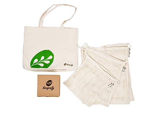 Reusable Produce Bags - Reusable Grocery Bag - Eco Friendly Organic Cotton Mesh Bags - Zero Waste Shopping Bags- Plastic Free Washable Heavy Duty Merchandise Bags ()