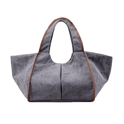 Señora Grande Casual Lona Bolso Bolsa De Hombro Bolsa De La Taleguilla Para Las Mujeres Multicolor Gray