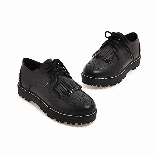 Latasa Damesschoen Veter Platte Schoenen Oxford Zwart