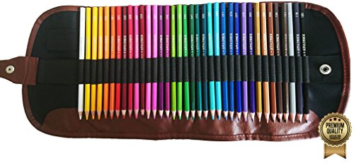 Amazrock Watercolor Pencils Set - 36 Colors (Soft Core Special Edition) | Water Soluble Artist Colored Pencils - Travel + Canvas Roll Colored Pencil - Belted Snap