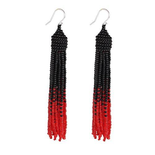 Bonnie Tassel Earring Bead Statement Dangle Drop Seed Glass Hook Earrings (Black&Red) -