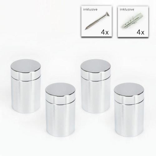Alu Abstandshalter 20 x 25 mm in poliert verchromt - 4er Set, Wandhalter, Schilder Halter, Acrylglas Halter MSP Decoline GmbH