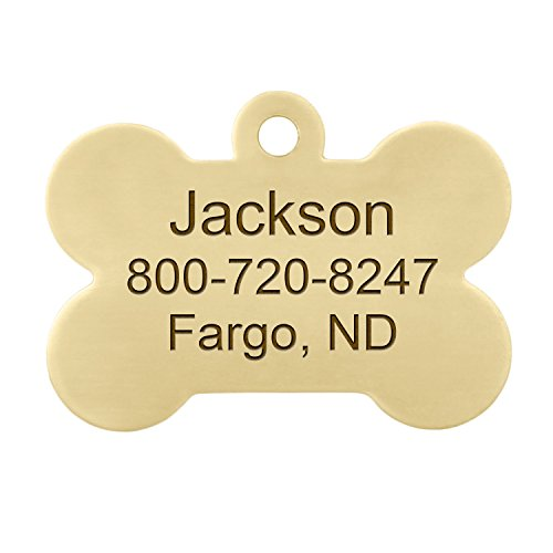 Double Sided Brass Bone Dog ID Tag - Personalized Laser Engraving with S-Hook and Split Ring by dogIDS