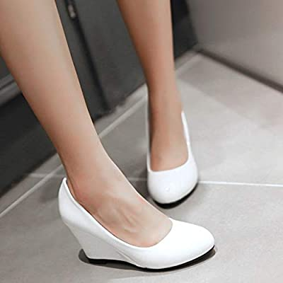 YiYLunneo Women High Heel Thick Platform Pumps Dress Shoes Evening Prom Wedding Wedges Shoes Leisure Single Shoes: Clothing