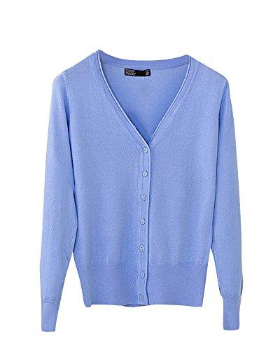 Manteau Maille Cou Chale Couleur Bouton Cardigan Unie V Femme Longues Azur Manches en HwUnq