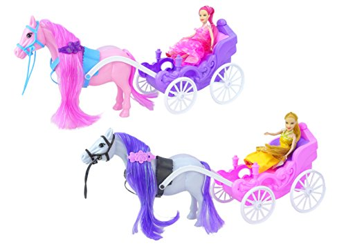 Magical Horse with Colourful Mane and Princess Carriage with Fairytale Princess Doll - Girls Playset - Assorted Designs