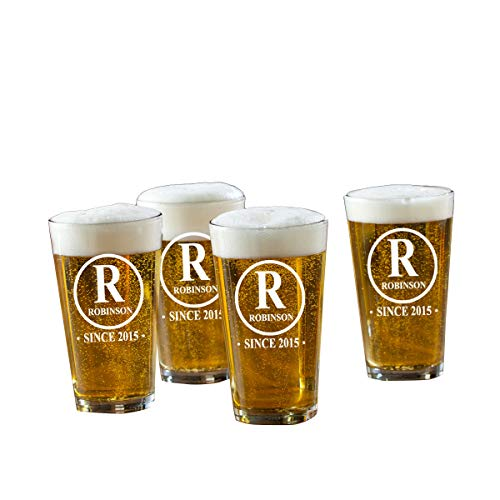 Personalized Initial Pint Glasses - Monogrammed Pint Glasses - Custom Pint Glasses