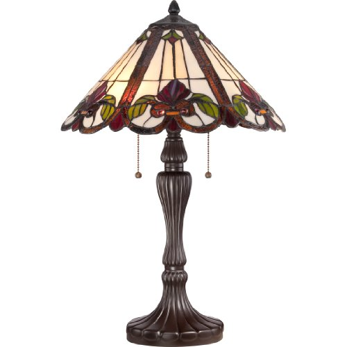 Quoizel TF1425TWT 2-Light Tiffany Table Lamp - Small - Western Bronze