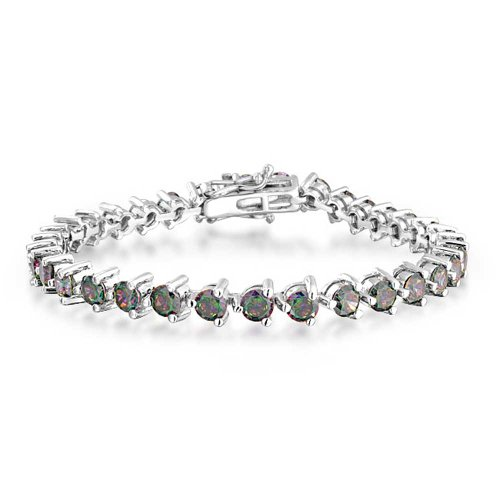 Bling Jewelry Black Mystic Rainbow Solitaire Cubic Zirconia Round CZ Tennis Bracelet for Women 925 Sterling Silver 7 Inch Safety Clasp
