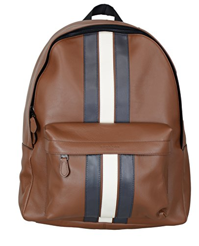 COACH CHARLES BACKPACK WITH VARSITY STRIPE ,F23214,SADDLE/MIDNIGHT NVY/CHALK/BLACK ANTIQUE NICKEL, Brown