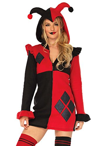 Leg Avenue Womens Cozy Harlequin Jester Halloween Costume, Red/Black, X-Large