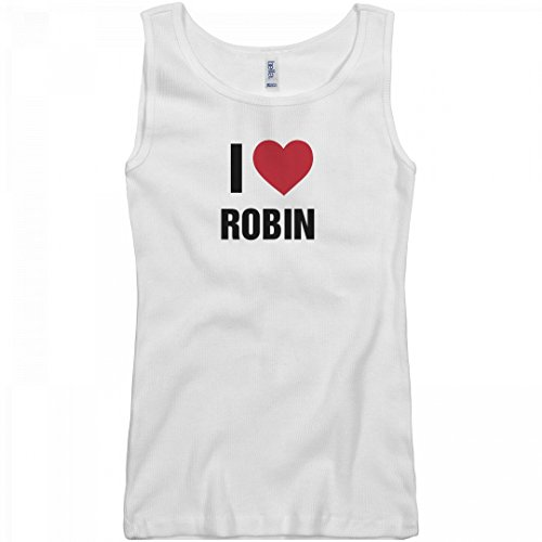 Sexy Robin Outfit (FUNNYSHIRTS.ORG Cute Valentine's Day I Love Robin: Junior Fit Basic Bella 2 x 1 Rib Tank Top)