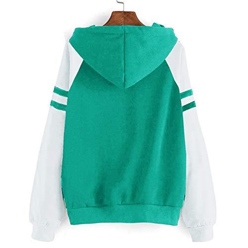 Yidarton Women's Color Block Long Sleeve T Shirt Casual Round Neck Tunic Tops Hoodies(Green,M) by Yidarton (Image #4)