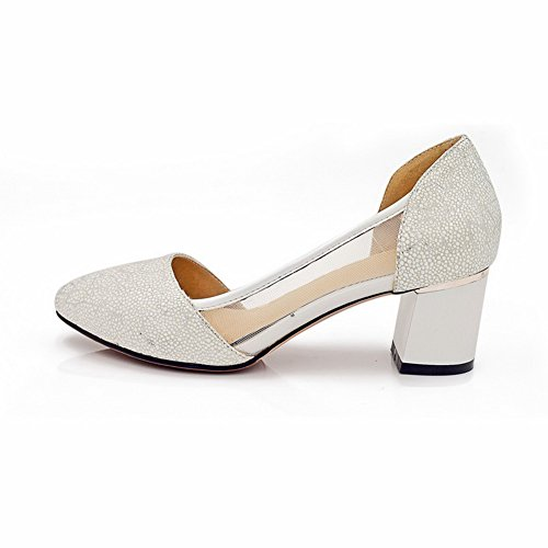 AllhqFashion Women's Closed Toe Buckle Blend Materials Checkered Kitten-Heels Sandals Beige sAt9j7