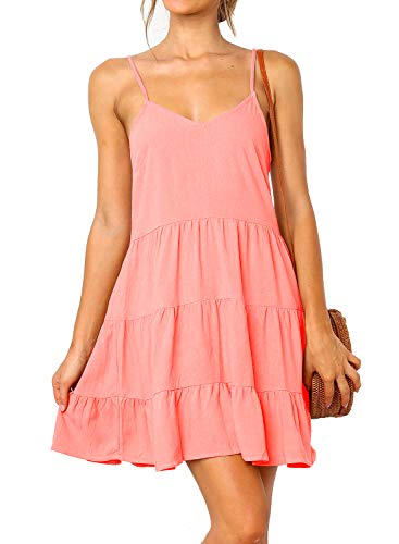 MIHOLL Women's V Neck Ruffle Dress Sleeveless Spaghetti Straps Cami Dresses (Large, Pink)
