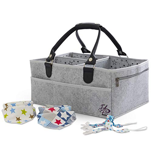 Baby Diaper Caddy Organizer Bag for Changing Table / Storage / Portable Nursery Basket   X-Large (16x11x7 inches)   3 Inner sections 8 Pockets   Sturdy   Unisex   Gray   Bonus 2 Bibs, 2 Pacifier Clips