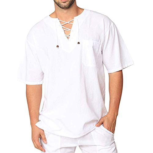 Fashion Linen Shirt Men Retro Casual Lace-Up Short-Sleeved Casual Top