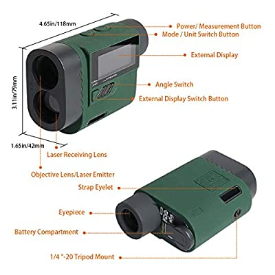 Huepar Golf Rangefinder 1100-Yard 6X Laser Range Finder with Golf Trajectory/Flagpole Lock/Distance/Height/Speed Mode, External LCD Screen, 1/4'' Mount Thread for Golf, Hunting, Outdoor Use HLR1000 by FLGF