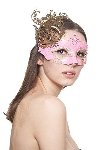 [Flair Pink/Gold Masquerade Mask (Clear Rhinestones; Unisex; One Size Fits Most)] (Womens Masquerade Costume Countess)
