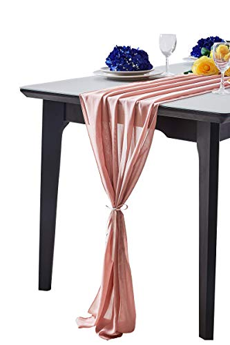 Aviviho Dusty Rose Chiffon Table Runner 29 x 120 Inch 10ft Long Sheer Table Runners for Rustic Wedding Boho Party Reception Table Decoration