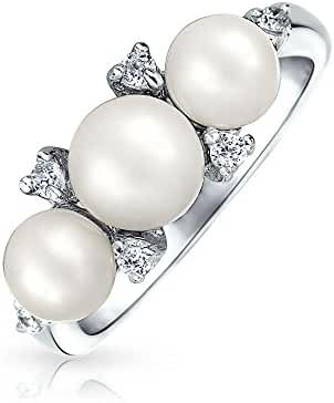 Bling Jewelry 925 Silver CZ Freshwater Cultured Pearl Ring Rhodium Plated