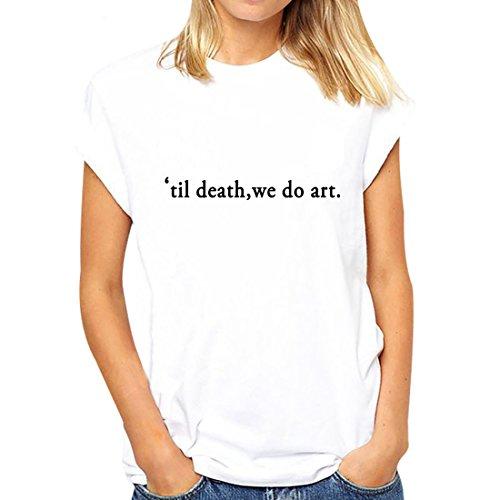 BLACKMYTH Mujer Casual Camisetas Para Estampar Redondo Graphic Tees Manga Corta Señoras T-shirt Blanco