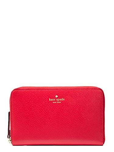 Kate Spade Grand Street Leather Zip Around Travel Wallet & Clutch (Pillbox Red)
