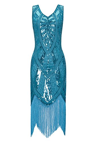 Price comparison product image Metme 1920s Vintage Inspired Fringe Embellished Gatsby Flapper Midi Dress Prom Party, Sky Blue, Medium