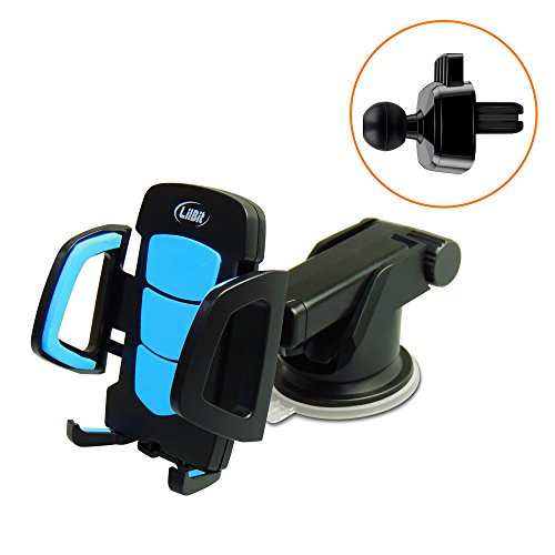 LilBit Car Phone Mount 2 in 1, Universal Air Vent Holder and Long Arm Windshield Mobile Phone Cradle with Suction Cup for 3.5-6.5 inch Iphone Smartphone GPS, Black and Blue