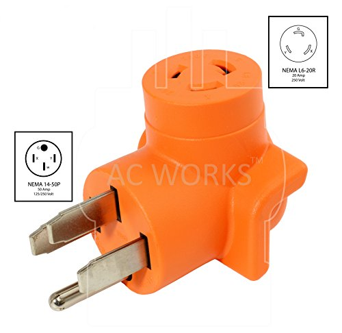 AC WORKS [AD1450L620] Plug Adapter NEMA 14-50P 50Amp 125/250Volt Range/RV/Generator Power Plug to NEMA L6-20R 20Amp 250Volt Locking Female Connector Adapter by AC WORKS (Image #1)