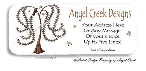 60 Country Primitive Willow Tree Stars Crow Personalized Return Address Labels ()