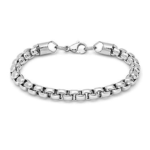 (Gem Stone King 8 1-4 Inch Solid Squared Rollo Chain Bracelet Stainless Steel)