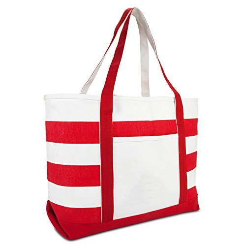 Bag Beach Red - DALIX Striped Boat Bag Premium Cotton Canvas Tote in Red